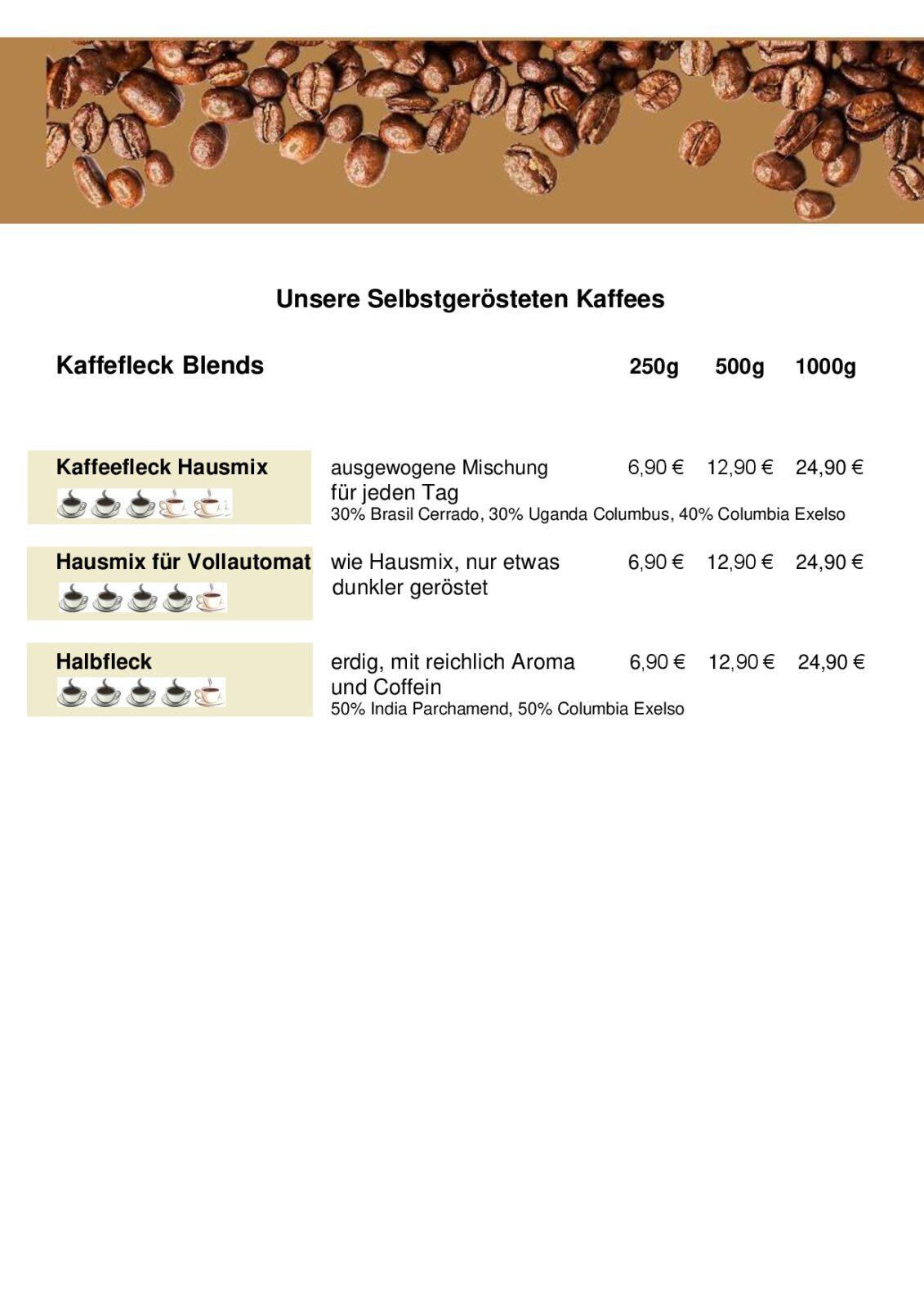 Kaffeefleck Röstkaffee